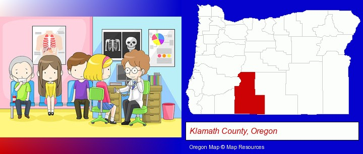 a clinic, showing a doctor and four patients; Klamath County, Oregon highlighted in red on a map