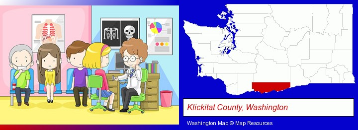 a clinic, showing a doctor and four patients; Klickitat County, Washington highlighted in red on a map