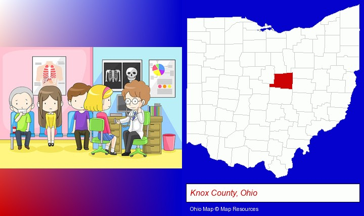 a clinic, showing a doctor and four patients; Knox County, Ohio highlighted in red on a map