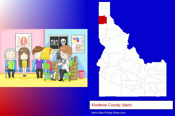 a clinic, showing a doctor and four patients; Kootenai County, Idaho highlighted in red on a map