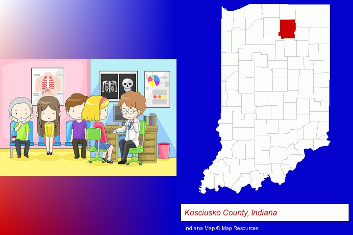 a clinic, showing a doctor and four patients; Kosciusko County, Indiana highlighted in red on a map