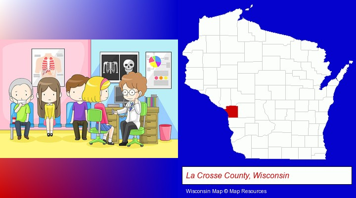 a clinic, showing a doctor and four patients; La Crosse County, Wisconsin highlighted in red on a map