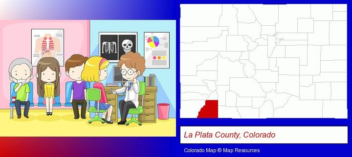 a clinic, showing a doctor and four patients; La Plata County, Colorado highlighted in red on a map