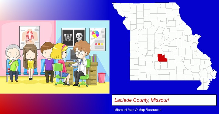 a clinic, showing a doctor and four patients; Laclede County, Missouri highlighted in red on a map