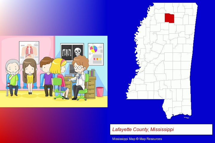 a clinic, showing a doctor and four patients; Lafayette County, Mississippi highlighted in red on a map