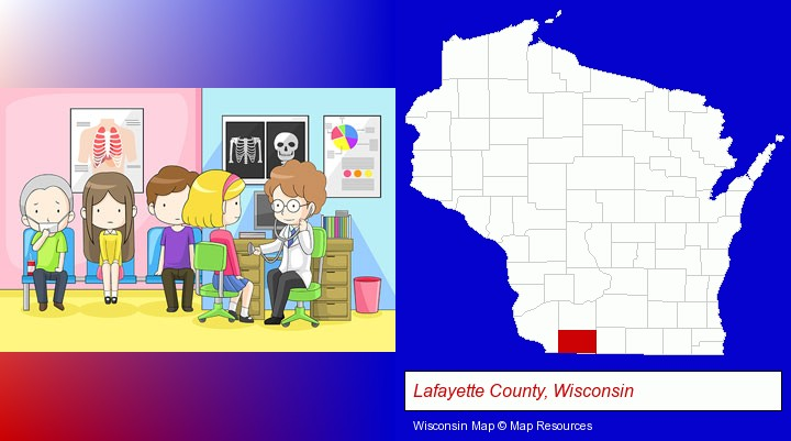 a clinic, showing a doctor and four patients; Lafayette County, Wisconsin highlighted in red on a map