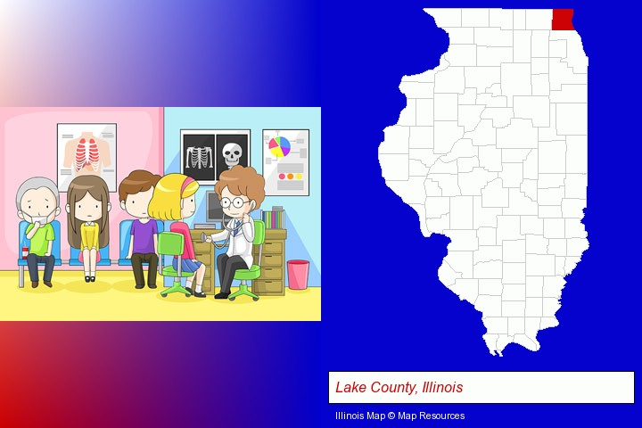 a clinic, showing a doctor and four patients; Lake County, Illinois highlighted in red on a map