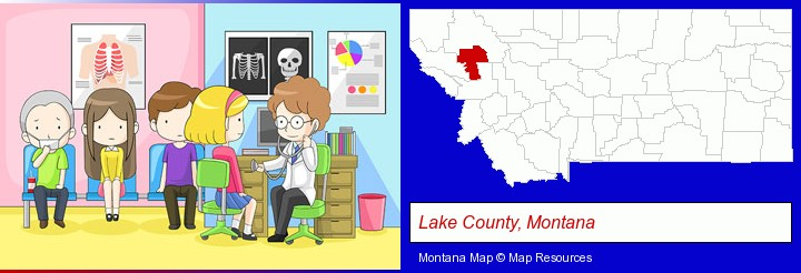 a clinic, showing a doctor and four patients; Lake County, Montana highlighted in red on a map