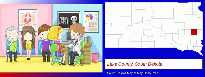 a clinic, showing a doctor and four patients; Lake County, South Dakota highlighted in red on a map
