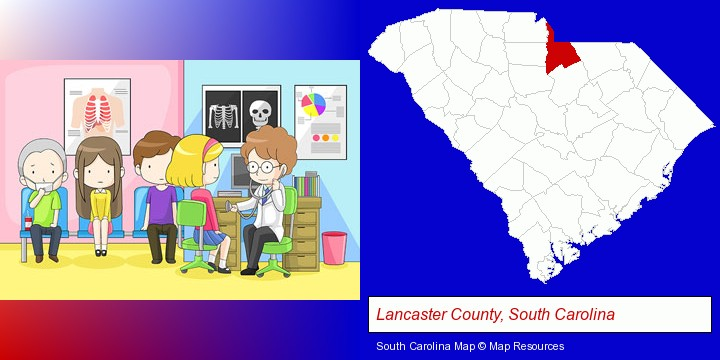 a clinic, showing a doctor and four patients; Lancaster County, South Carolina highlighted in red on a map