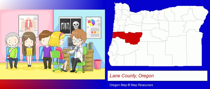 a clinic, showing a doctor and four patients; Lane County, Oregon highlighted in red on a map