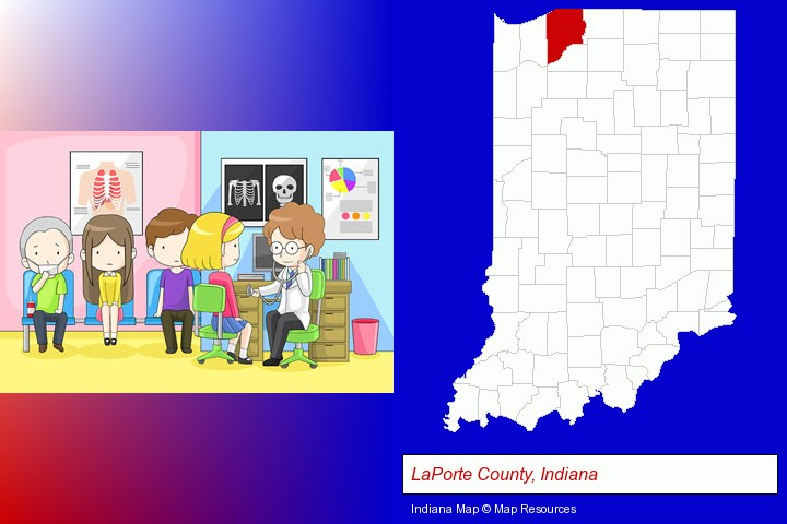 a clinic, showing a doctor and four patients; LaPorte County, Indiana highlighted in red on a map