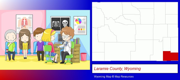 a clinic, showing a doctor and four patients; Laramie County, Wyoming highlighted in red on a map