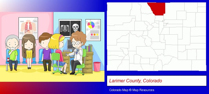 a clinic, showing a doctor and four patients; Larimer County, Colorado highlighted in red on a map