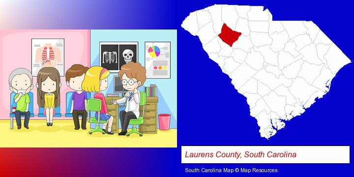 a clinic, showing a doctor and four patients; Laurens County, South Carolina highlighted in red on a map