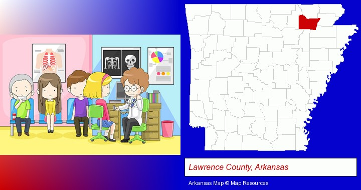 a clinic, showing a doctor and four patients; Lawrence County, Arkansas highlighted in red on a map