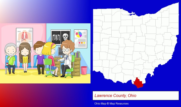 a clinic, showing a doctor and four patients; Lawrence County, Ohio highlighted in red on a map