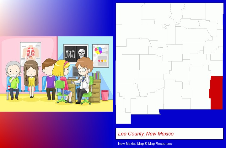 a clinic, showing a doctor and four patients; Lea County, New Mexico highlighted in red on a map