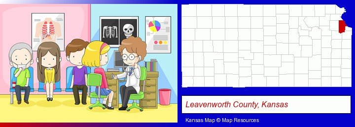 a clinic, showing a doctor and four patients; Leavenworth County, Kansas highlighted in red on a map