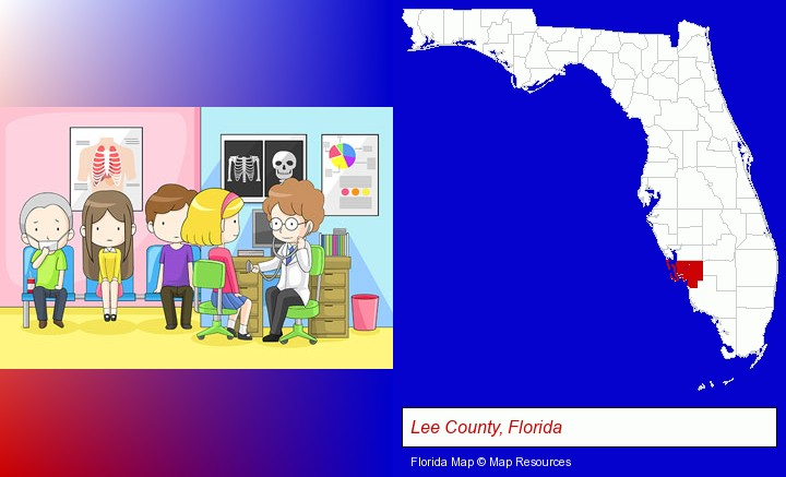a clinic, showing a doctor and four patients; Lee County, Florida highlighted in red on a map
