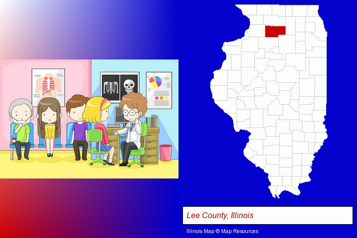 a clinic, showing a doctor and four patients; Lee County, Illinois highlighted in red on a map