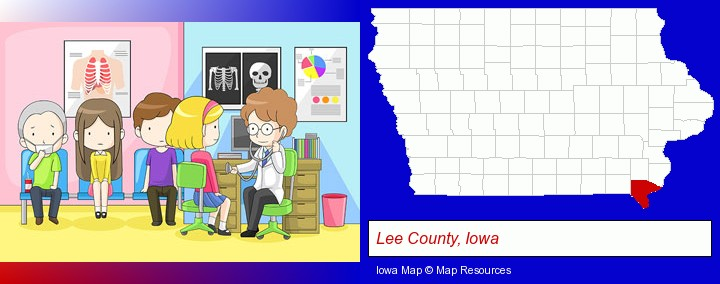 a clinic, showing a doctor and four patients; Lee County, Iowa highlighted in red on a map