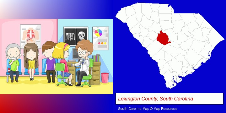 a clinic, showing a doctor and four patients; Lexington County, South Carolina highlighted in red on a map
