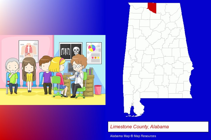 a clinic, showing a doctor and four patients; Limestone County, Alabama highlighted in red on a map
