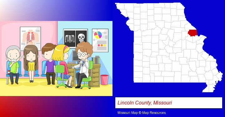 a clinic, showing a doctor and four patients; Lincoln County, Missouri highlighted in red on a map