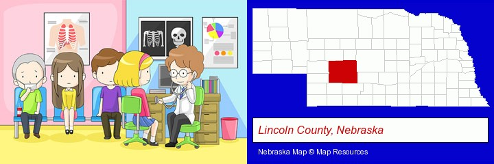 a clinic, showing a doctor and four patients; Lincoln County, Nebraska highlighted in red on a map