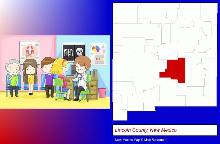 a clinic, showing a doctor and four patients; Lincoln County, New Mexico highlighted in red on a map