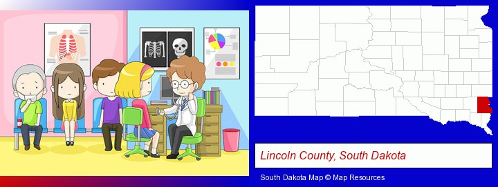a clinic, showing a doctor and four patients; Lincoln County, South Dakota highlighted in red on a map