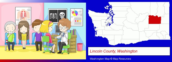 a clinic, showing a doctor and four patients; Lincoln County, Washington highlighted in red on a map