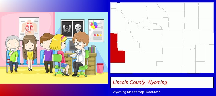 a clinic, showing a doctor and four patients; Lincoln County, Wyoming highlighted in red on a map