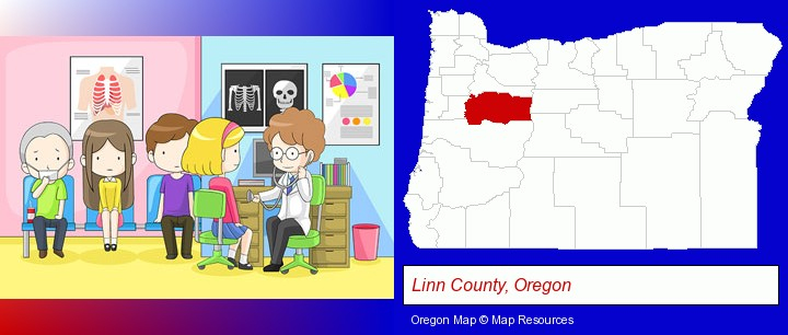 a clinic, showing a doctor and four patients; Linn County, Oregon highlighted in red on a map