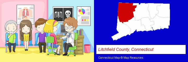 a clinic, showing a doctor and four patients; Litchfield County, Connecticut highlighted in red on a map