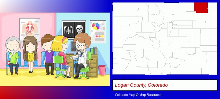 a clinic, showing a doctor and four patients; Logan County, Colorado highlighted in red on a map