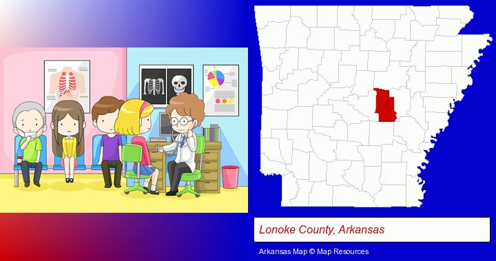 a clinic, showing a doctor and four patients; Lonoke County, Arkansas highlighted in red on a map