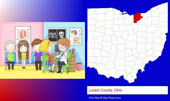 a clinic, showing a doctor and four patients; Lorain County, Ohio highlighted in red on a map