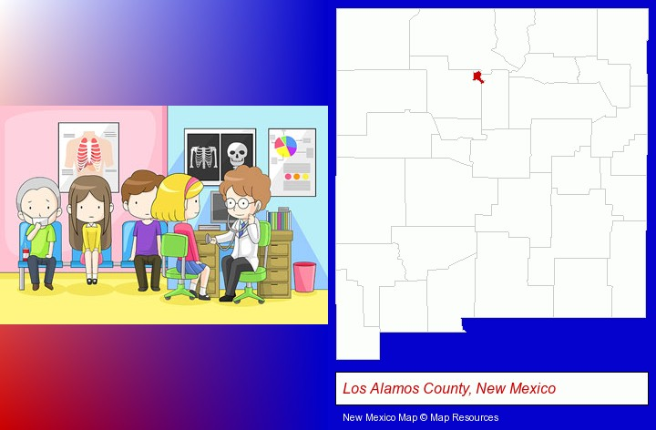 a clinic, showing a doctor and four patients; Los Alamos County, New Mexico highlighted in red on a map