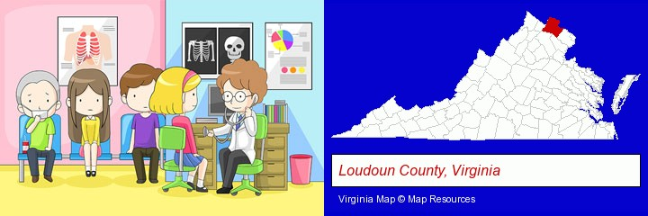 a clinic, showing a doctor and four patients; Loudoun County, Virginia highlighted in red on a map