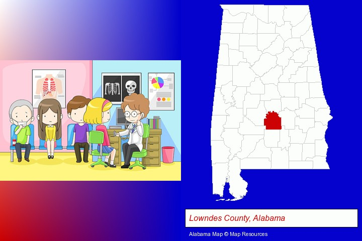 a clinic, showing a doctor and four patients; Lowndes County, Alabama highlighted in red on a map