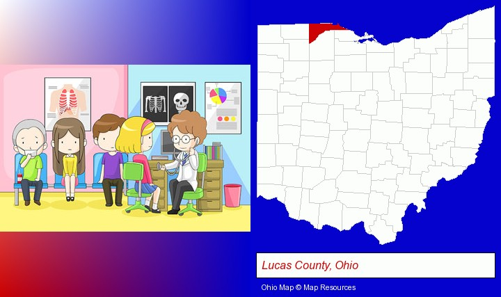 a clinic, showing a doctor and four patients; Lucas County, Ohio highlighted in red on a map