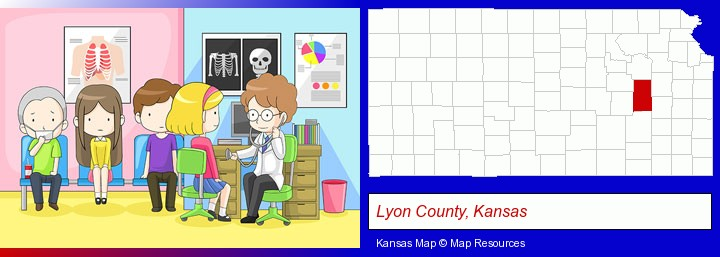 a clinic, showing a doctor and four patients; Lyon County, Kansas highlighted in red on a map