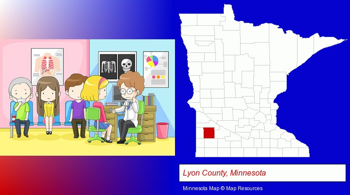 a clinic, showing a doctor and four patients; Lyon County, Minnesota highlighted in red on a map