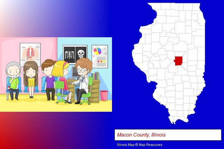 a clinic, showing a doctor and four patients; Macon County, Illinois highlighted in red on a map