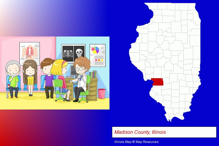 a clinic, showing a doctor and four patients; Madison County, Illinois highlighted in red on a map
