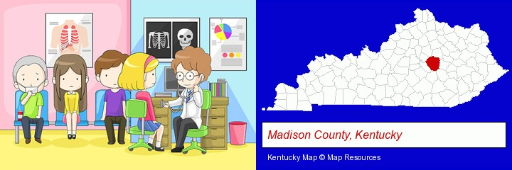 a clinic, showing a doctor and four patients; Madison County, Kentucky highlighted in red on a map