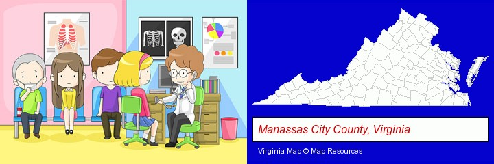 a clinic, showing a doctor and four patients; Manassas City County, Virginia highlighted in red on a map