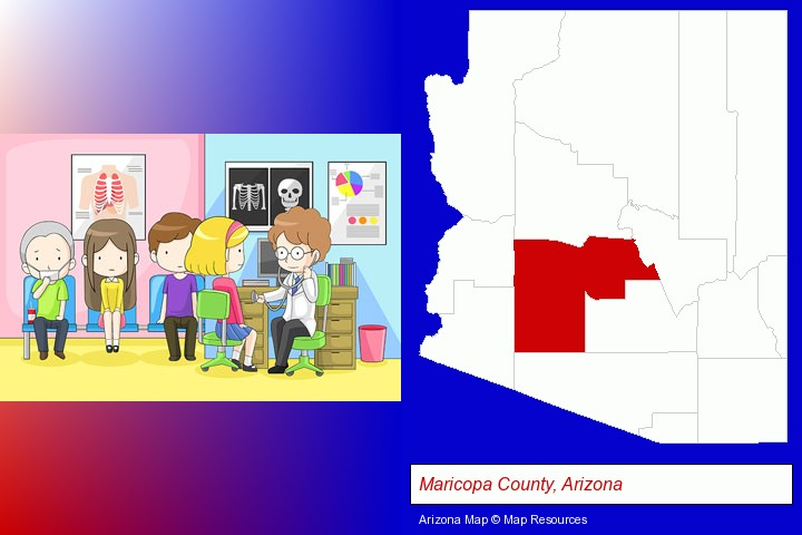 a clinic, showing a doctor and four patients; Maricopa County, Arizona highlighted in red on a map